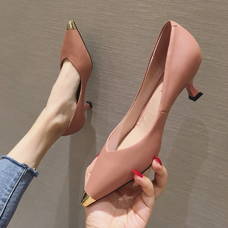 2020 new leather high heels womens thin heel 5cm metal pointed single shoes middle heel comfortable versatile work shoes