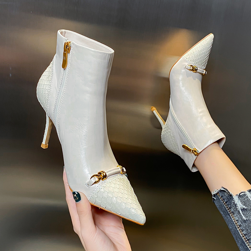 European and American Leather short boots autumn and winter 2020 new high-heeled shoes pointed thin heel soft leather sexy versatile Martin boots