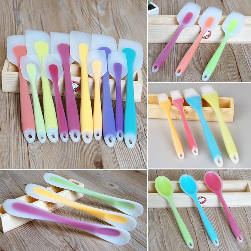 大号/小号半透明一体式硅胶刮刀 蛋糕抹刀铲刀搅拌 颜色随机发货