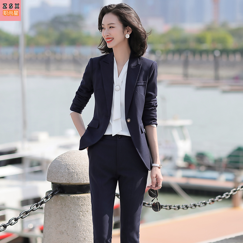 High end professional suit suit womens autumn and winter temperament fashion dress broadcast host art test suit interview work clothes