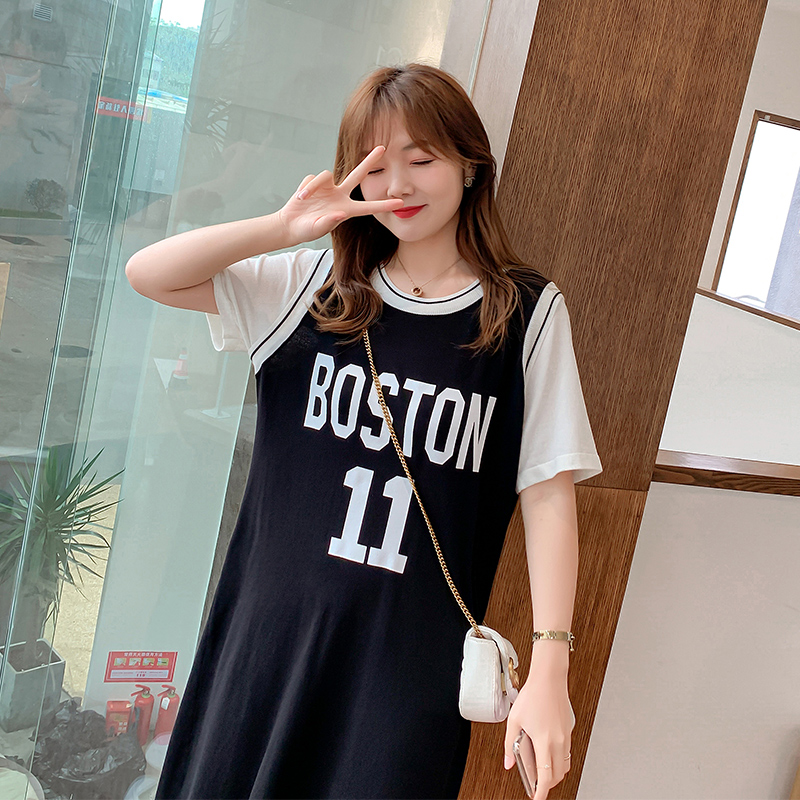 Salt fried Street fat mm European and American dress summer large BF fried Street top covering belly long t-shirt female summer covering butt