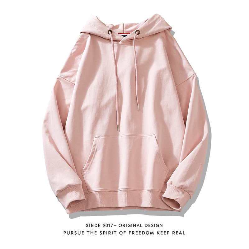 2020粉色卫衣女连帽新款宽松韩版加绒加厚
