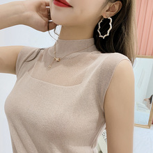 Sexy suspender waistcoat women wear shoulder semi-high collar ice silk knitted cardigan and sleeveless jacket in summer