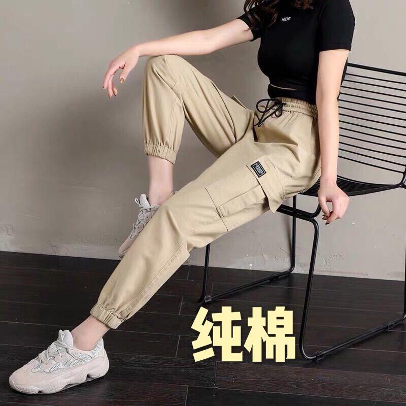 路之翼工装裤女韩版学生休闲宽松高腰显瘦百搭九分束脚哈伦裤子