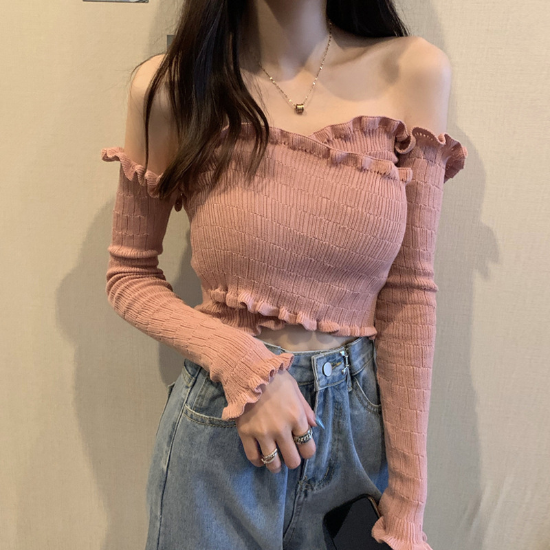 Early spring 2021 new Korean one shoulder crossed short lace sweater womens slim design bottomed top