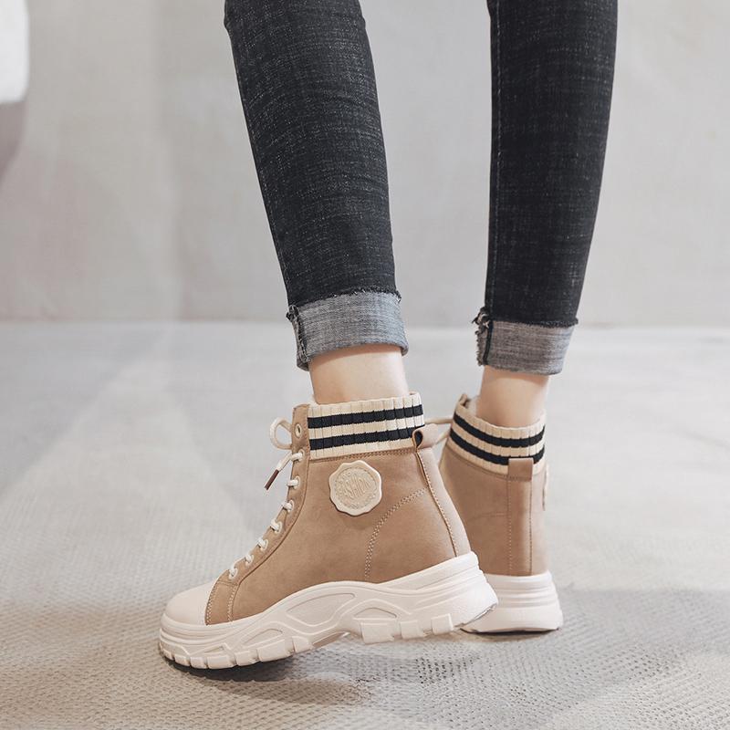 2019冬季新款百搭加绒马丁靴女英伦短靴女保暖棉鞋学生加厚棉靴子