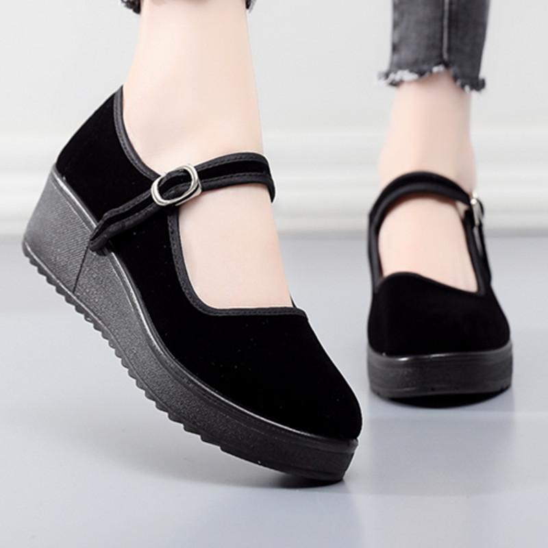 老北京布鞋女鞋新款上班跳舞软底黑色单鞋女工作鞋舒适厚底妈妈鞋