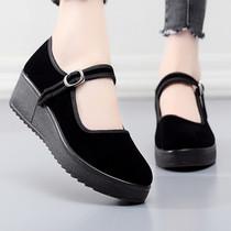 老北京布鞋女單鞋上班跳舞軟底黑色布鞋女工作鞋舒適平底媽媽鞋