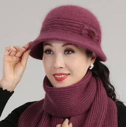 中老年人帽子女冬天妈妈洋气针织毛线帽加绒加厚老人奶奶保暖盆帽