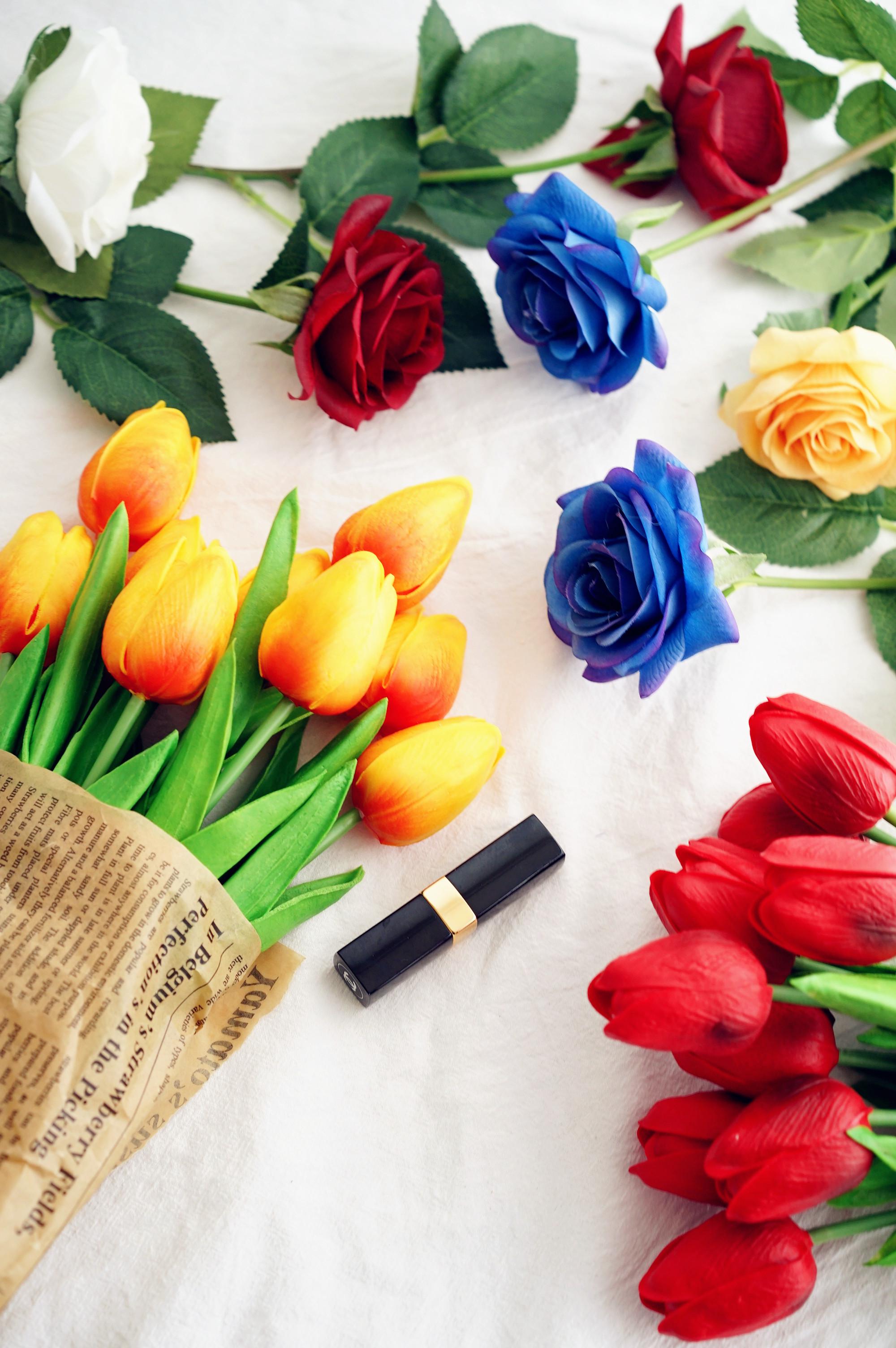 仿真花朵玫瑰郁金香家居客厅结婚装饰单只欧式假花摆设文艺绢花