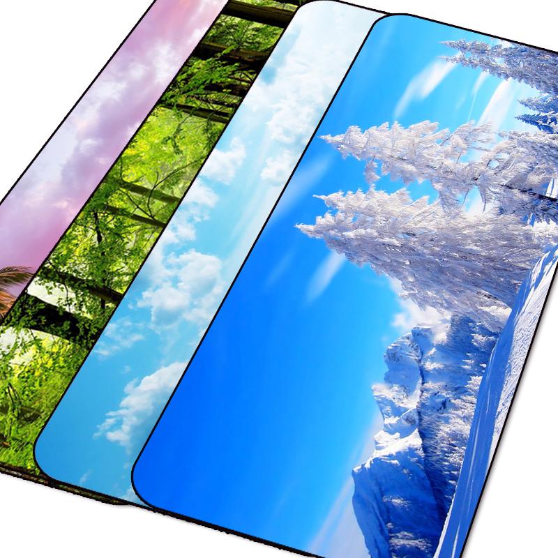 办公鼠标垫超大加厚锁边风景创意可爱动漫小号电脑笔记本家用桌垫