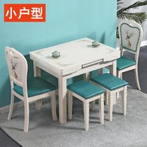 家用带电磁炉的餐桌椅组合小户型可伸缩折叠钢化玻璃实木长方形桌