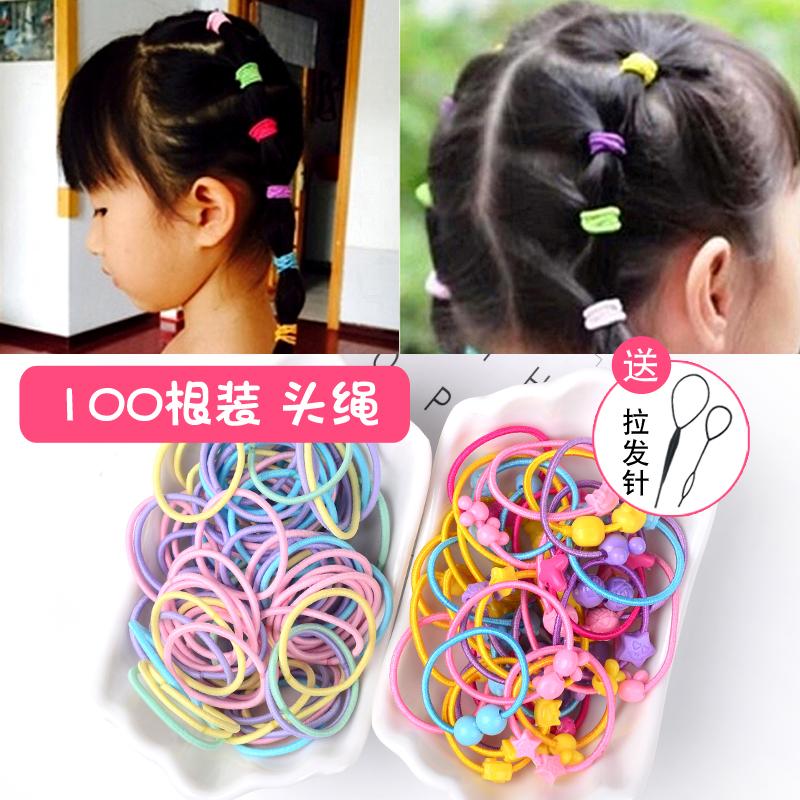 韩版100根儿童头绳发圈发饰女孩扎头发橡皮筋彩色发绳不伤发头饰
