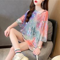 短袖t恤女夏韩版宽松大码女装中长款亮闪闪扎染设计感小众上衣潮