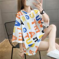 纯棉网红ins短袖t恤女韩版宽松中长款小众设计感很仙的上衣t桖潮
