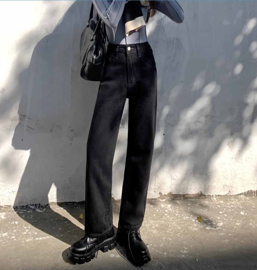 实拍实价~新款港味复古黑色百搭宽松高腰显瘦直筒牛仔裤
