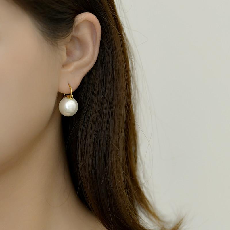 LEZI新款S925纯银饰耳扣式耳环珍珠巴洛克复古宫廷款显气质百搭
