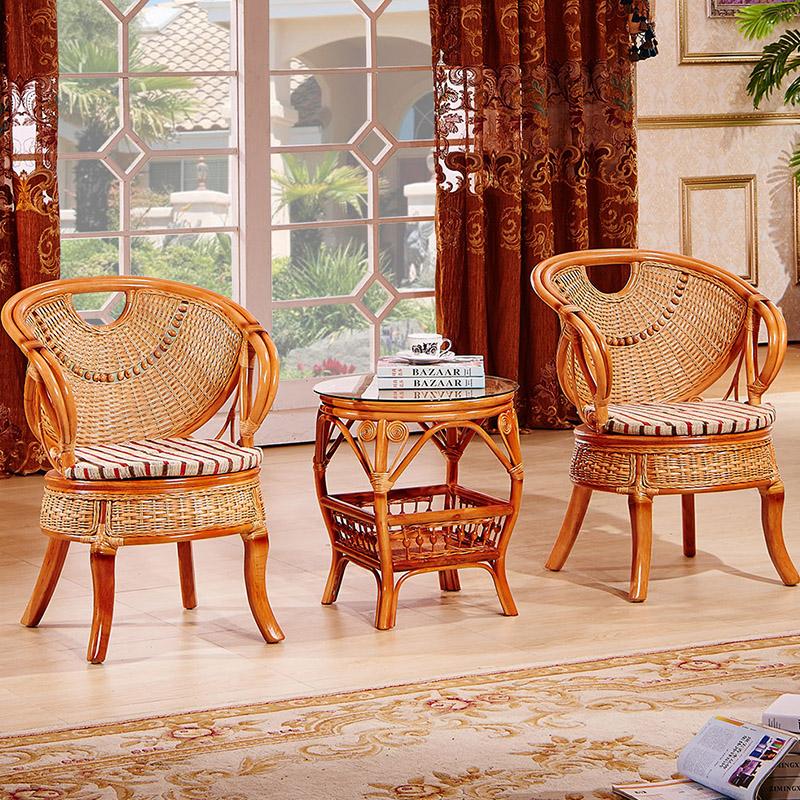 藤椅三件套休阳台休闲靠背椅单人真藤编家具户外庭院茶几桌椅组合