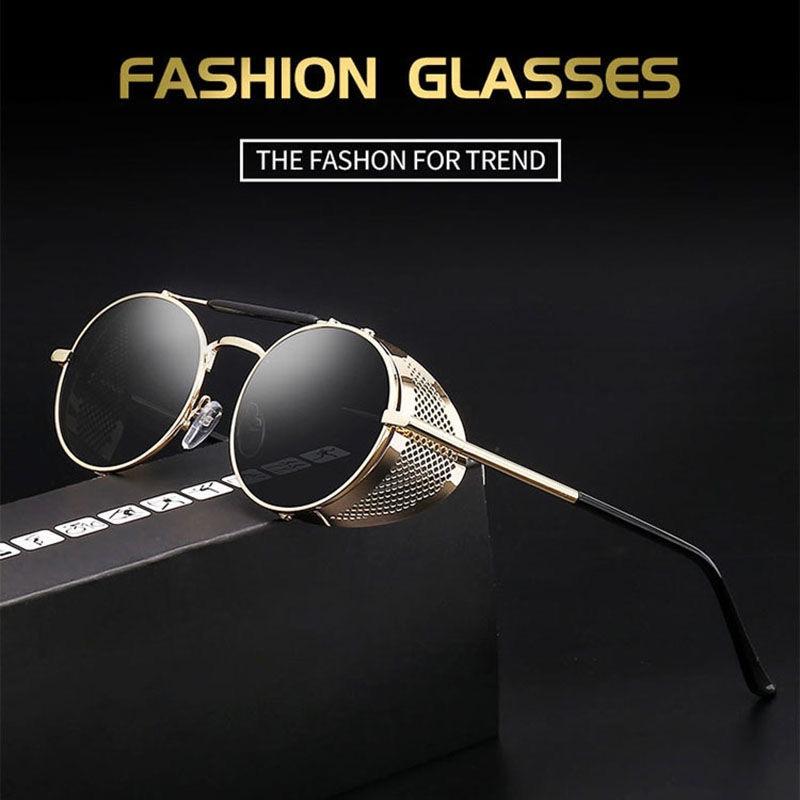 Store counter European and American Steampunk glasses personalized windproof Sunglasses RETRO SUNGLASSES color film reflective toad glasses