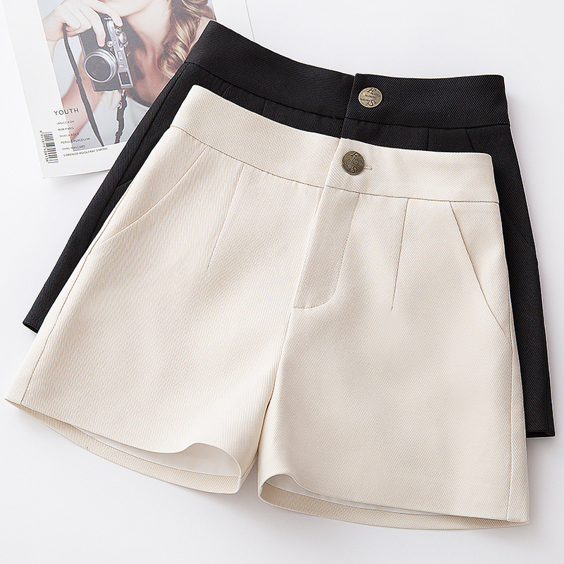 Spring and Summer Black Shorts women's autumn and winter 2019 new wool high waist thin loose all-around suit, boots and pants