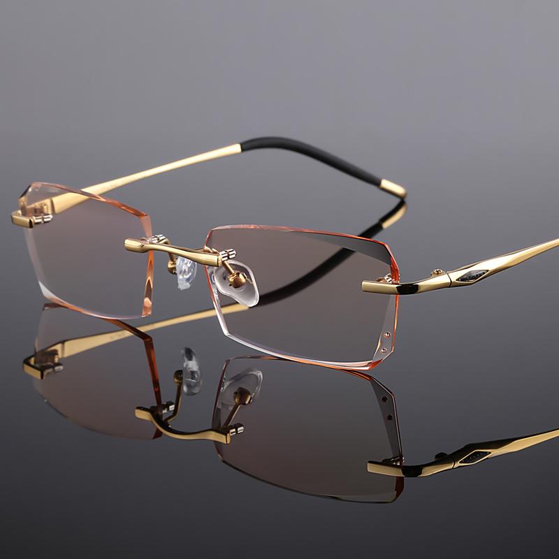 配眼镜框纯钛变色近视眼镜男成品无框眼镜架丹阳眼镜眼睛框镜网红