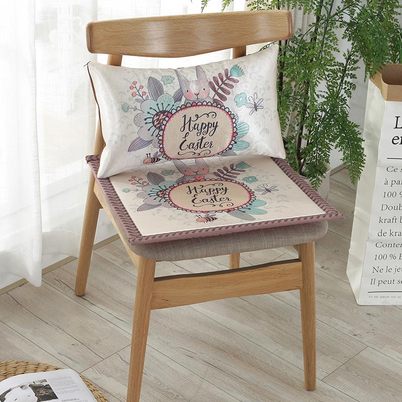 夏季电脑椅垫子冰丝坐垫可爱卡通防滑透气学生竹凉席餐垫办公座垫