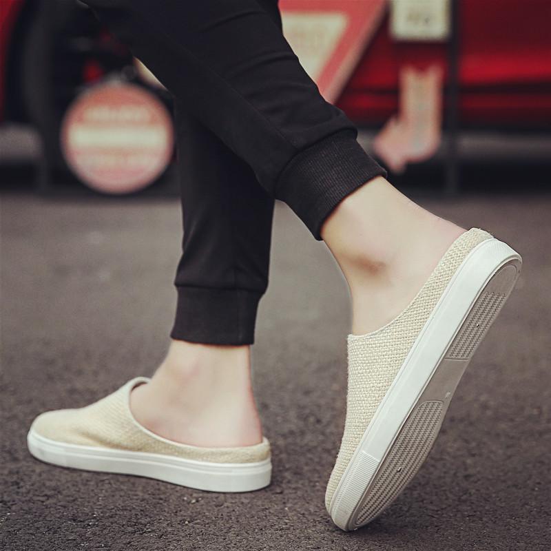 夏季亚麻帆布男鞋子休闲百搭板鞋包头懒人鞋透气韩版潮老北京布鞋
