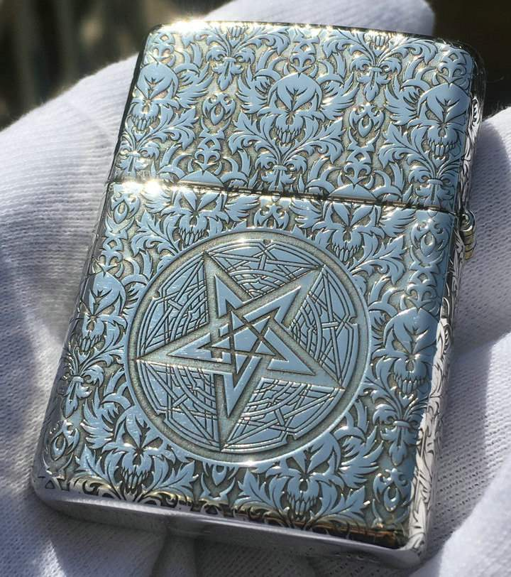 Authentic butcher Zippo Lighter armor pure copper and silver surrounded by carved Satan hymn on five sides