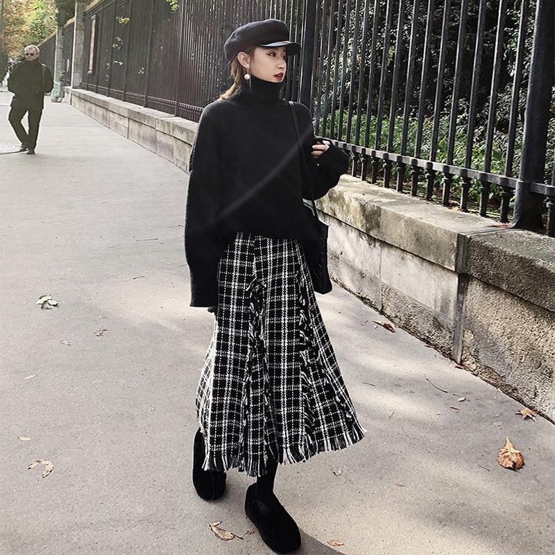 秋冬季格子毛呢半身长裙流苏配毛衣11月15日最新优惠