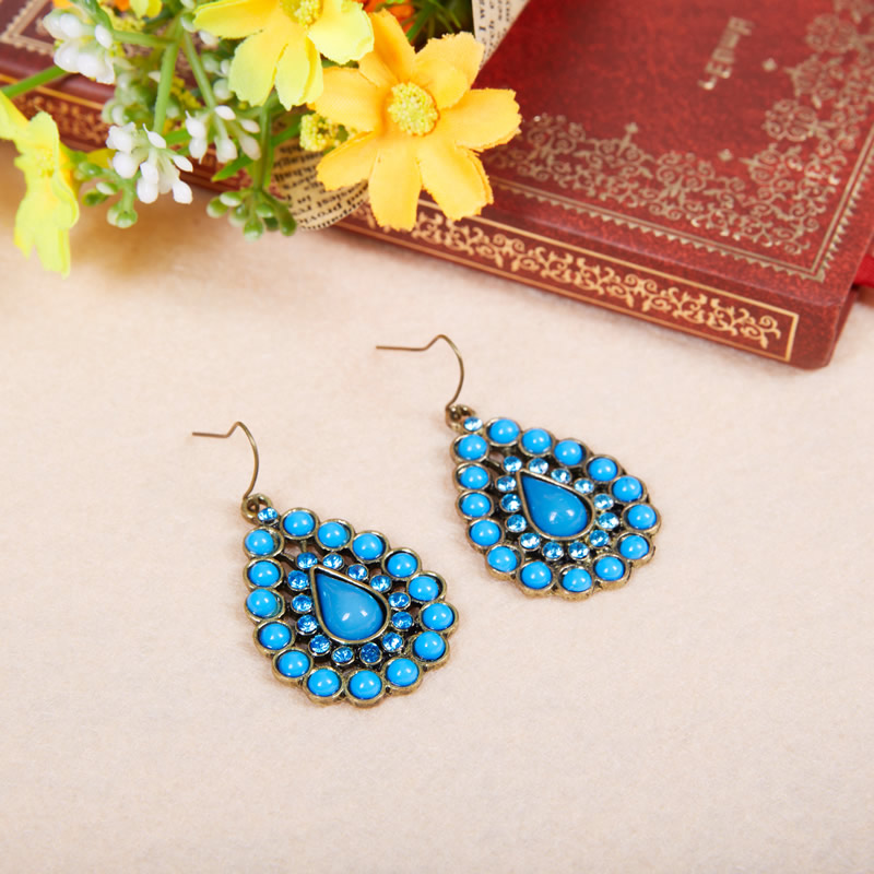 Indian Folk Dance Belly Dance accessories tribal style ancient costume film and television modeling jewelry Retro Blue Bead Earrings