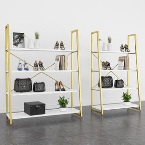 服装店橱窗鞋架包包置物陈列架落地式商场展示柜多层金色铁艺货架