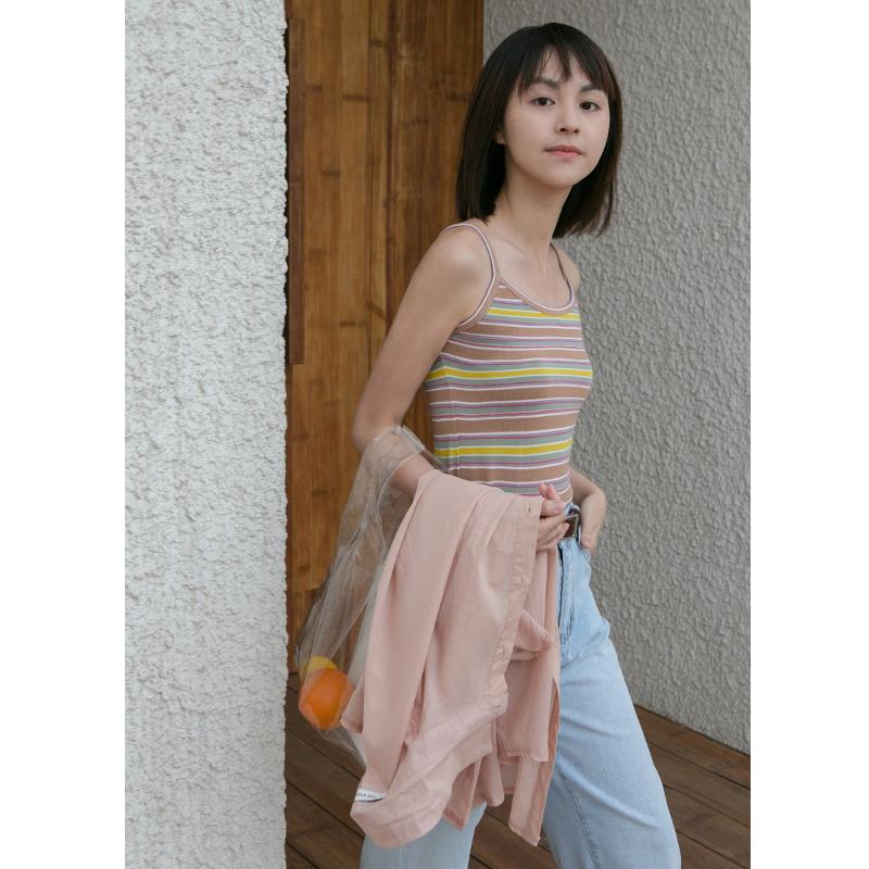 卡农自制 韩范2018夏季女装新款撞色条纹针织吊带背心/上衣 2色