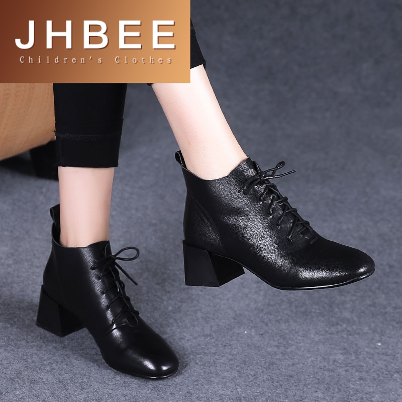 2020 new spring and autumn thick heel short boots womens Leather Medium heel leather shoes, autumn womens shoes lace up Martin single boots