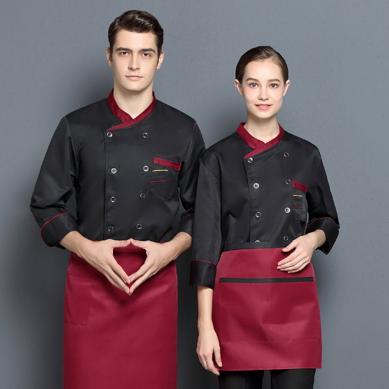 Logo French restaurant pastry master uniform hotel chef uniform autumn and winter long sleeve barista frock bread