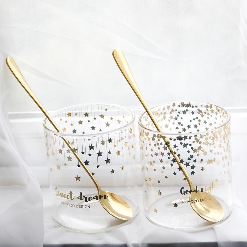 韩版金色透明简约咖啡杯 对杯加厚耐热玻璃水杯 可爱情侣星星杯子