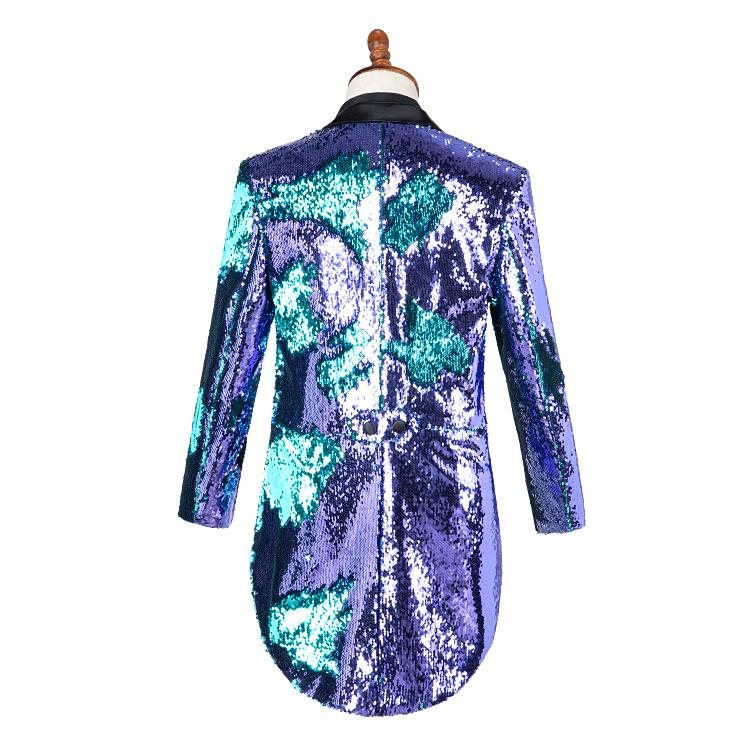 High grade purple and green sequins suit performance suit magician conductor tuxedo dance singer host new