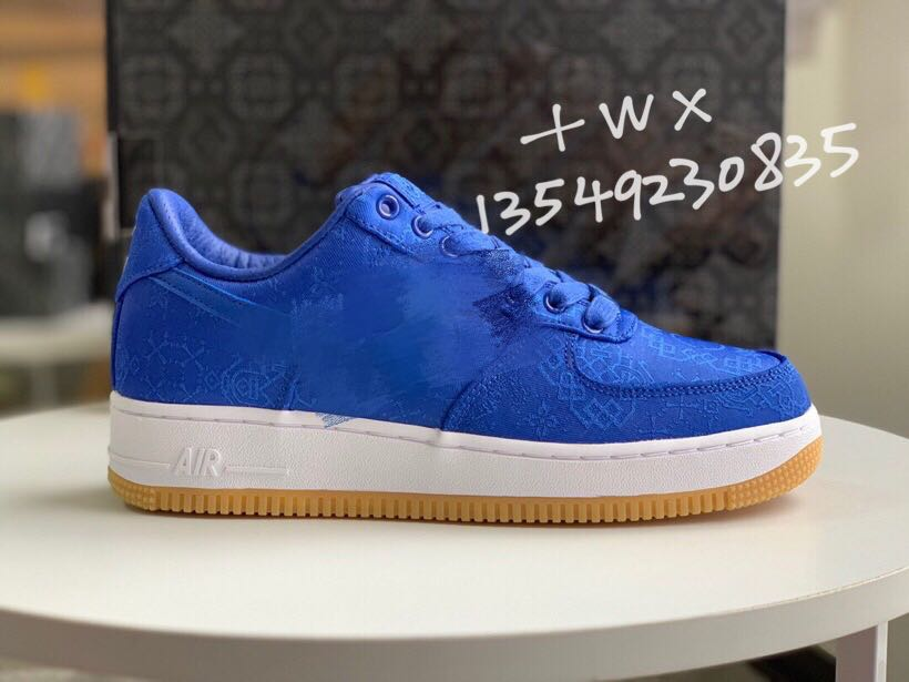 NK AF1 blue silk black silk air force one tear open men and women trend sports shoes ins super fire