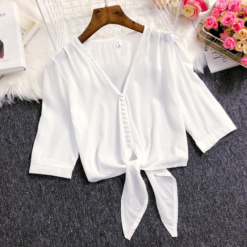 迪乐町法国小众雪纺衬衫女2019夏季新款V领心机设计蝴蝶结系带短