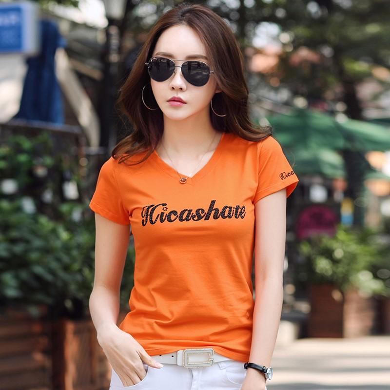 11-21新券短袖橙色2019夏季烫钻显瘦字母t恤