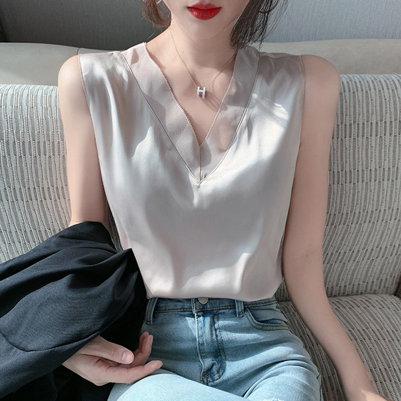 Acetate Satin suspender vest for womens 2021 summer match suit with backing on the inside and French loose sexy top on the outside