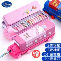 迪士尼文具盒幼儿园铅笔盒儿童火车头造型可爱创意笔盒双层大容量铁盒男孩女公主小学生一年级收纳盒包邮批发