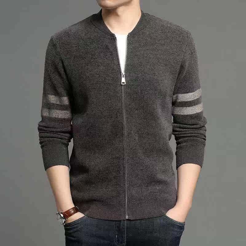 正品牌鄂尔多斯市秋冬高档男式针织开衫男士毛衣外套修身羊毛打底