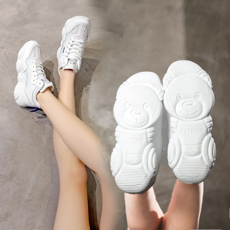 芬爱莎2019春季新款高帮小白鞋女小熊学生运动鞋女ins韩版老爹鞋