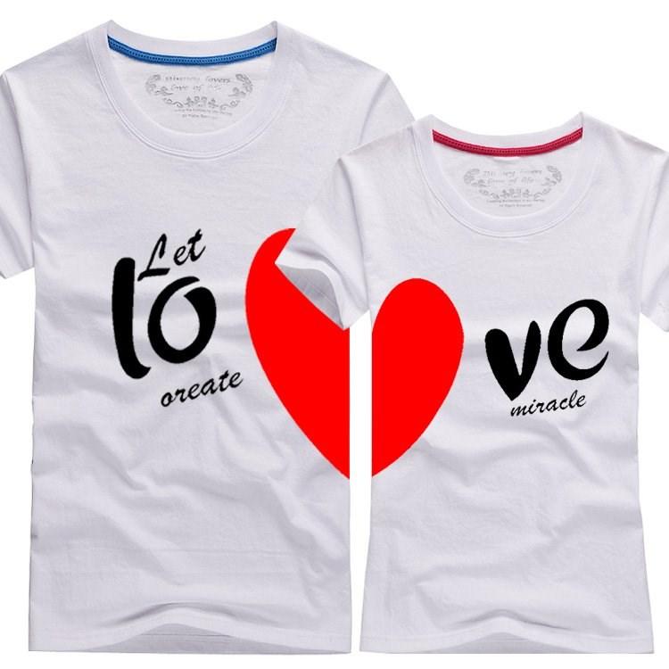 couple t-shirt love heart 恤 men2017 women summer round neck
