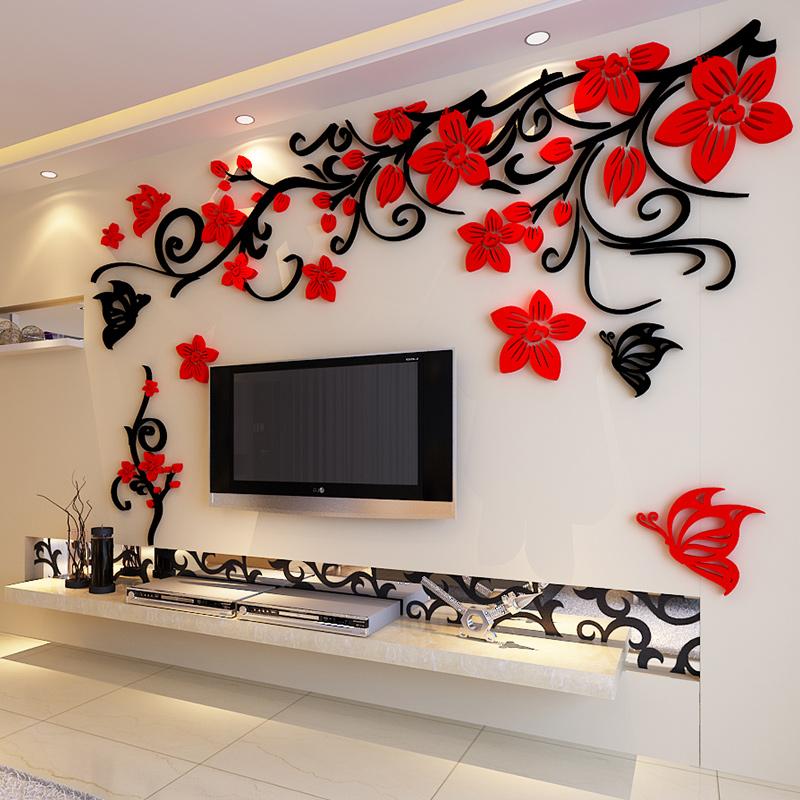 电视背景墙贴画自粘客厅墙面现代简约创意大气花藤3d立体亚克力