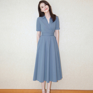 高圆圆同款2020新款大码女装遮肚显瘦中长款连衣裙子高端礼服V领