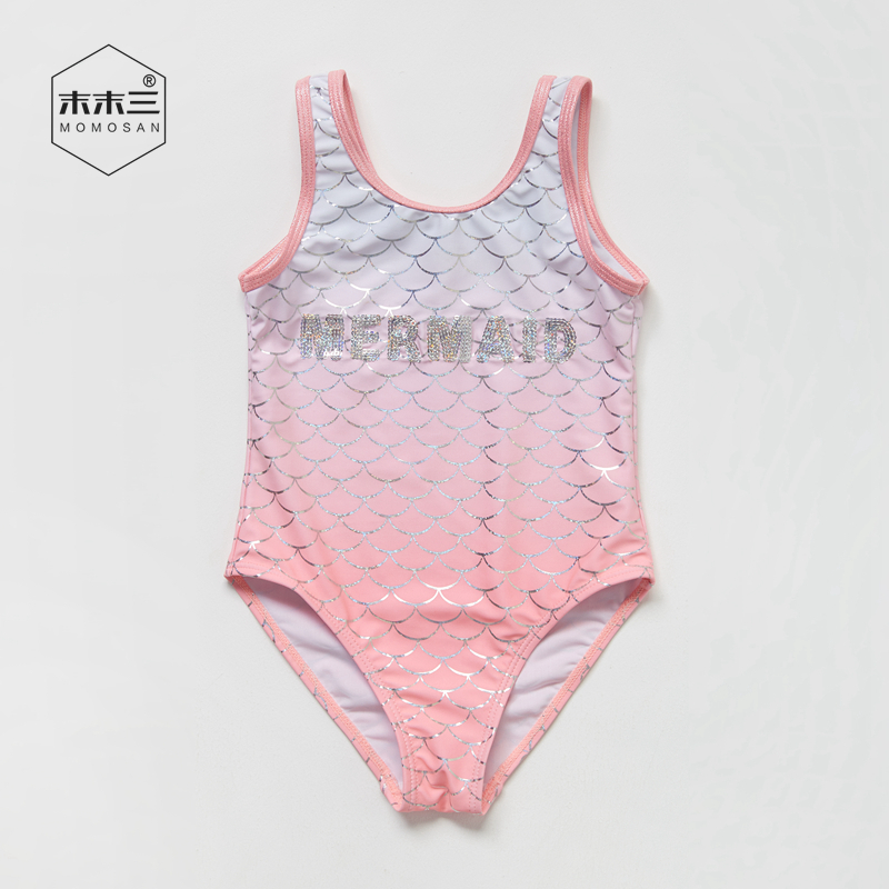 New ~ export original single girls one-piece gradual change hot silver fish scale childrens lovely baby Mermaid swimsuit