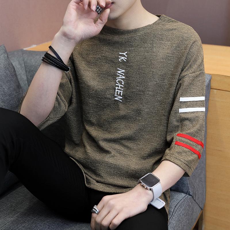 男士五分7七分袖短袖t恤夏季韩版潮流男装春季宽松潮牌夏装上衣服