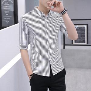 夏季条纹中袖衬衫男韩版修身短袖寸衫男装潮流半袖休闲七分袖衬衣