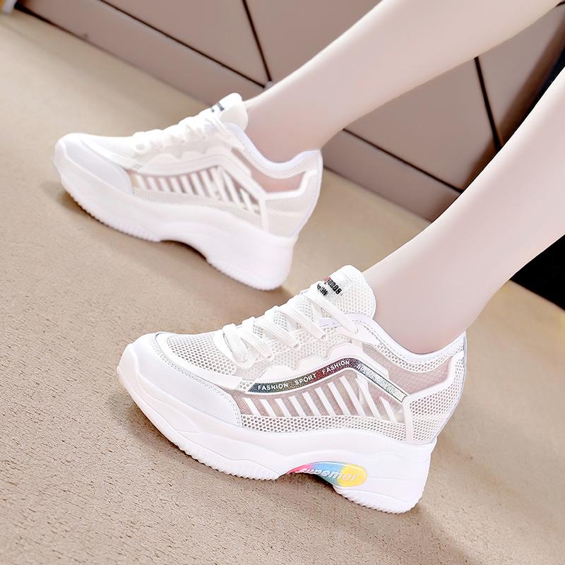 小白鞋女ins网面透气百搭运动2020夏季新款内增高厚底老爹鞋潮女